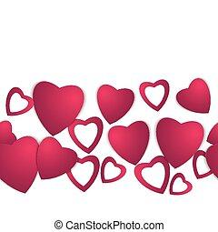 day., valentinkort, hearts., papper, valen