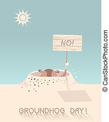 day., vecto, groundhog, cartone animato, illustrazione