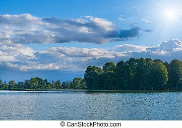 day., verão, quentes, lago, paisagem