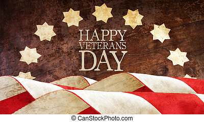 day., veterani, bandiere, felice