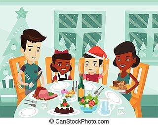 day., vieren, multiethnic, familie kerstmis