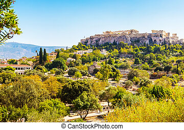 Day view of Acropolis in Athens, Greece