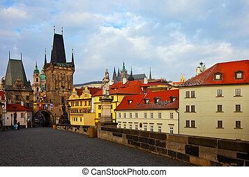 Day view of Charles bridge. Prague