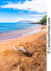 day view of Makena Beach, famous tourist destination in Maui, Hawaii - USA