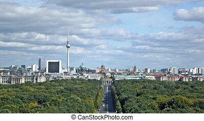 Day view of the central district of Berlin from an...