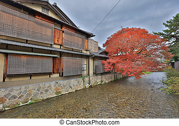 day view of the Gion district, Kyoto, Japan - day view of...
