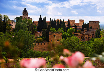 fortress of Alhambra. Granada - Day view to fortress of ...