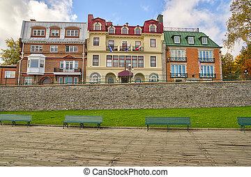 day., ville québec, automne, canada., ensoleillé, vieux, bâtiments