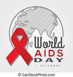day., welt, abbildung, planet, vektor, rotes , aids, erde, geschenkband