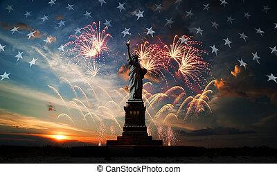 day., welt, freiheit, aufklären, unabhängigkeit
