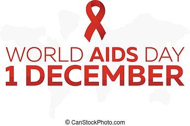 day., welt, vektor, abbildung, aids