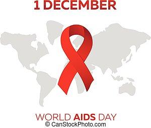 day., welt, vektor, illustration., aids
