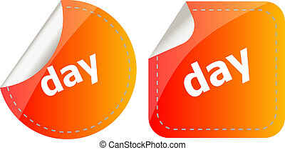 day word stickers web button set, label, icon