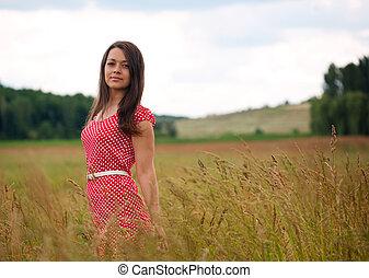 day., zomer, landelijk, vrouwlijk, verticaal