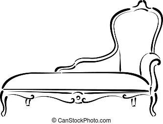 daybed, sofá, sketched, illustration., sofá