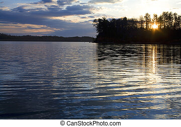 dawn over Lake James in North Carolina