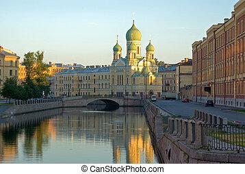 Daybreak in Saint-Petersburg - Church and bridge on...