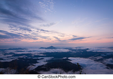 daybreak scene with mountain and cloudy at Pha Tang,...