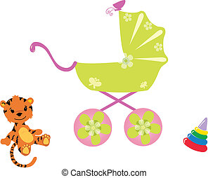 Baby carriage and toys, vector illustration