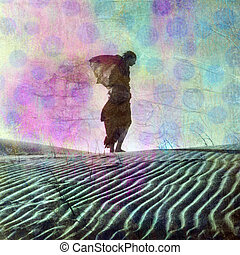 Daydream Away - Abstract female figure in desert dune. Photo...