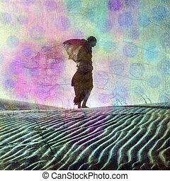 Daydream Away - Abstract female figure in desert dune. Photo...