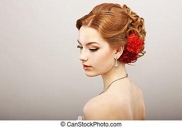 daydream., tenderness., gouden, haar, vrouwlijk, met, rood,...