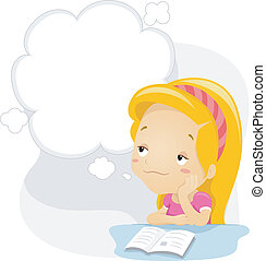 Daydreaming Kid - Illustration of a Kid Daydreaming