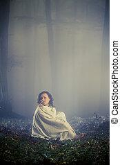 daydreaming, mulher, floresta