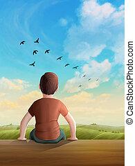 daydreaming, soleggiato, bambini, paesaggio