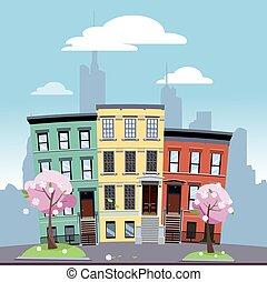 day.flat, cityscape, coloré, printemps, dessin animé, ensoleillé, premier plan., fond, clair, fleurir, arbres, urbain, maisons, illustration, ville, vecteur, bas, grand, secteur, contre, silhouette