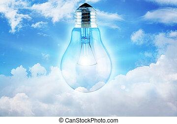 Illustration of a light bulb lit up the sky