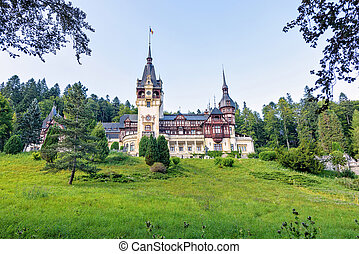 Daylight far view to Peles castle front facade with hanging...