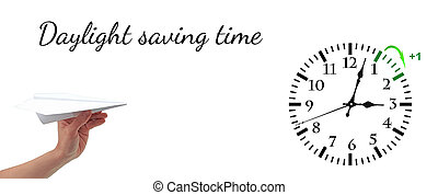 Daylight Saving Time. DST. Wall Clock going to winter time. Turn time forward.