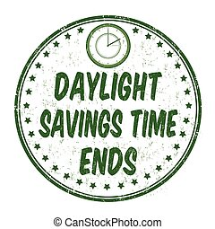 Daylight saving time ends stamp or sign