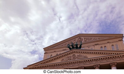 Bolshoi Theater in Moscow, Russia Time Lapse - Daylight view...