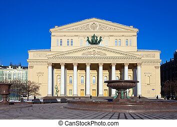 Daylight view of the Bolshoi Theatre in Moscow, Russia
