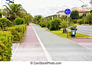Daylight view to local bike and pedestrians lanes