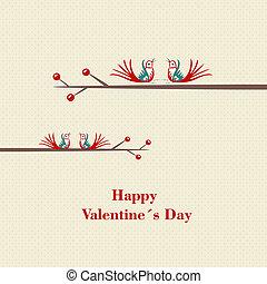 day's, amor, concept., -, dois, valentine, pássaros