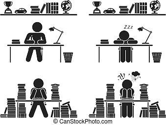 days., ensemble, icône, pictogramme, école