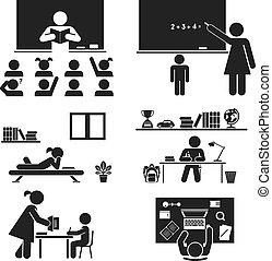 days., escuela, pictogram, set., icono
