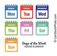 Days of the week - Colorful icons with titles of days of the...