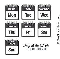 Days of the week - Dark grey icons with titles of days of...
