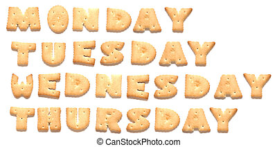 Days of week: Monday, Tuesday, Wednesday, Thursday, are made...