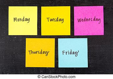 Days of Week Sticky Notes - Days of the week sticky notes