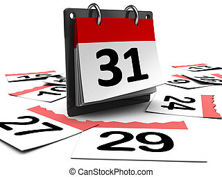 days passing - 3d illustration of day calendar over white ...