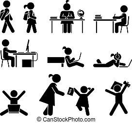 days., set., icône, pictogramme, école
