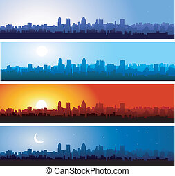 Days steps - city skyline at different time of the day