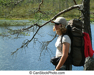 days trekking - woman with backpack.