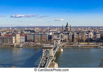 Dayshot at Danube river panoramic city view,Budapest city Hungary.