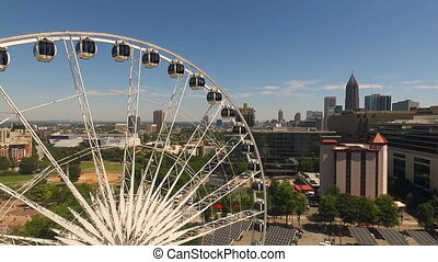 Daytime Blue Skies Downtown Atlanta Ferris Wheel - Downtown...